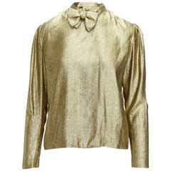 Pauline Trigere Metallic Gold 1980s Lame Blouse