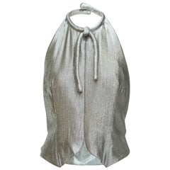 Pauline Trigere Metallic Silver Lame Top