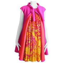 Pauline Trigere Pleated Silk Dress Babydoll with Magenta Swing Jacket Vest M 60s