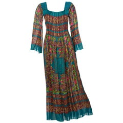 Pauline Trigere Silk Floral Metallic Bell Sleeve Caftan Maxi Dress, 1970s