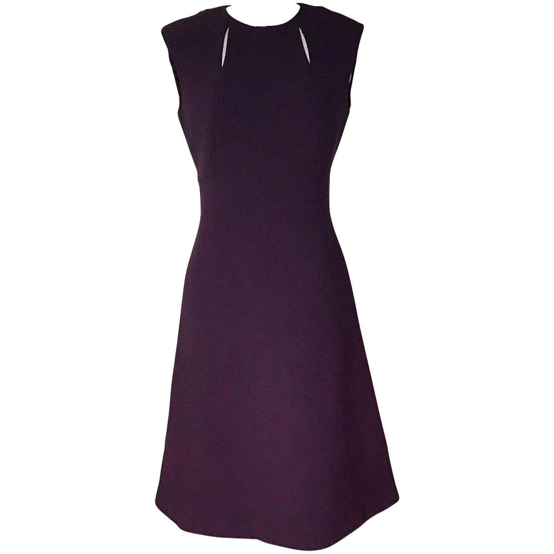 1960's Pauline Trigere Vintage Purple Cut Out A-Line Shift Dress