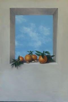 """""""Oranges in the sky"""", Painting, Oil on Metal"""