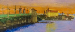 St. Augustine Lions Bridge, Painting, Acrylic on MDF Panel