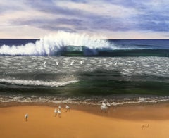 White Ibis on the beach, Painting, Oil on Canvas