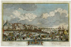 Historical view of Rotterdam with ice skating scenery - Engraving - 18th Century