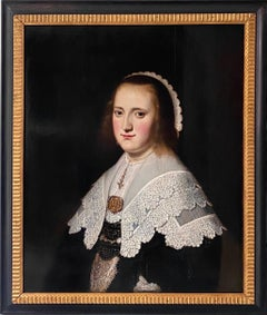 17th century Dutch Old Master Portait of a lady - lace collar jewellery