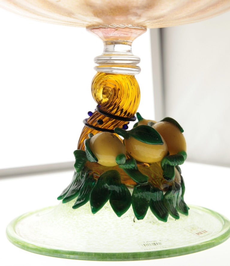 Pauly Venice Cornucopia Footed Bowl, Murano Glass, Gold Leaf Applications, 1960s For Sale 4