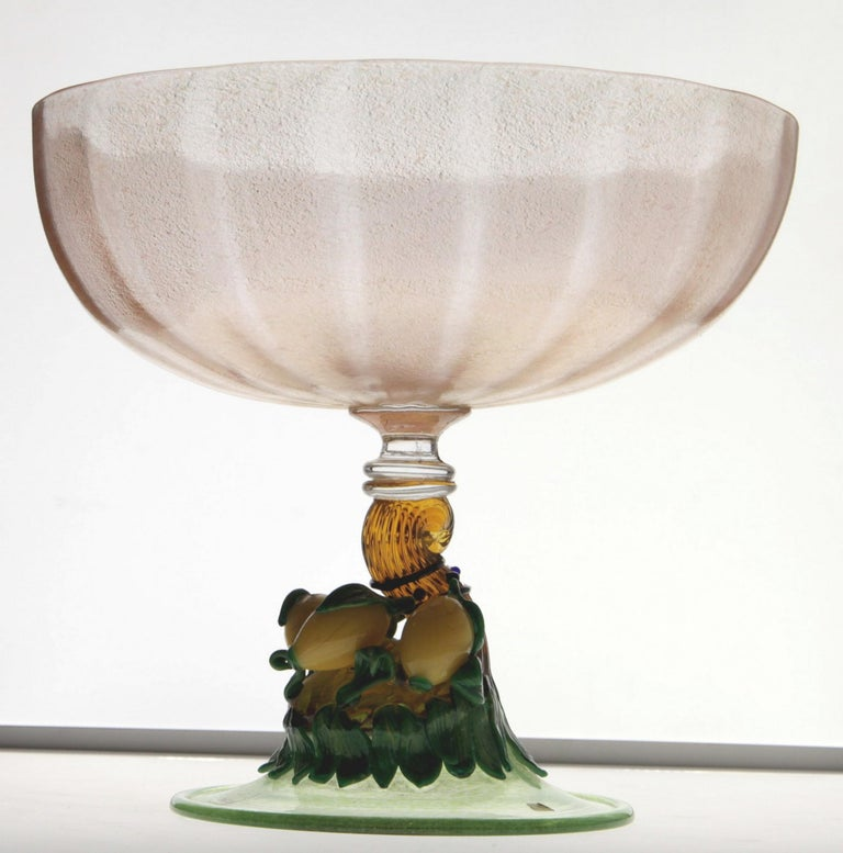 Pauly Venice Cornucopia Footed Bowl, Murano Glass, Gold Leaf Applications, 1960s For Sale 5