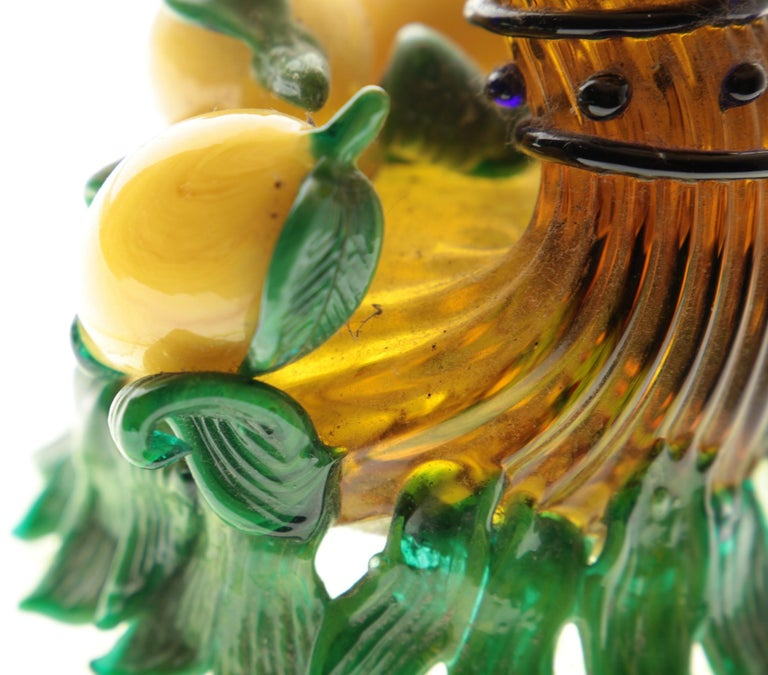 Pauly Venice Cornucopia Footed Bowl, Murano Glass, Gold Leaf Applications, 1960s For Sale 8