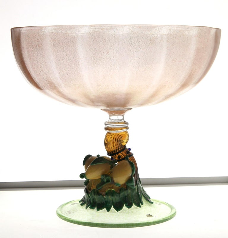 Mid-Century Modern Pauly Venice Cornucopia Footed Bowl, Murano Glass, Gold Leaf Applications, 1960s For Sale