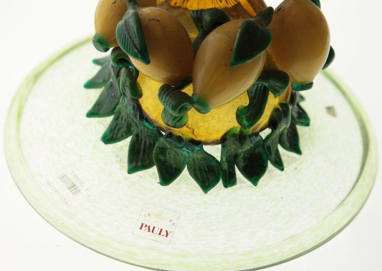 Italian Pauly Venice Cornucopia Footed Bowl, Murano Glass, Gold Leaf Applications, 1960s For Sale
