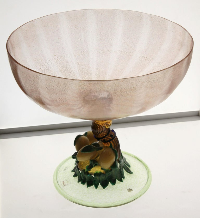 20th Century Pauly Venice Cornucopia Footed Bowl, Murano Glass, Gold Leaf Applications, 1960s For Sale