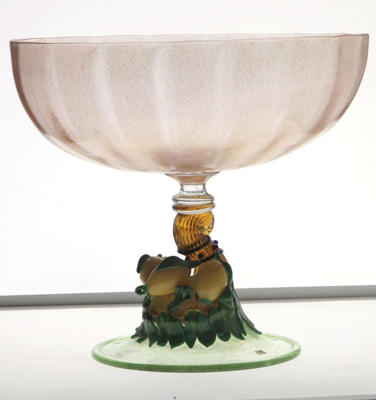 Pauly Venice Cornucopia Footed Bowl, Murano Glass, Gold Leaf Applications, 1960s For Sale 2