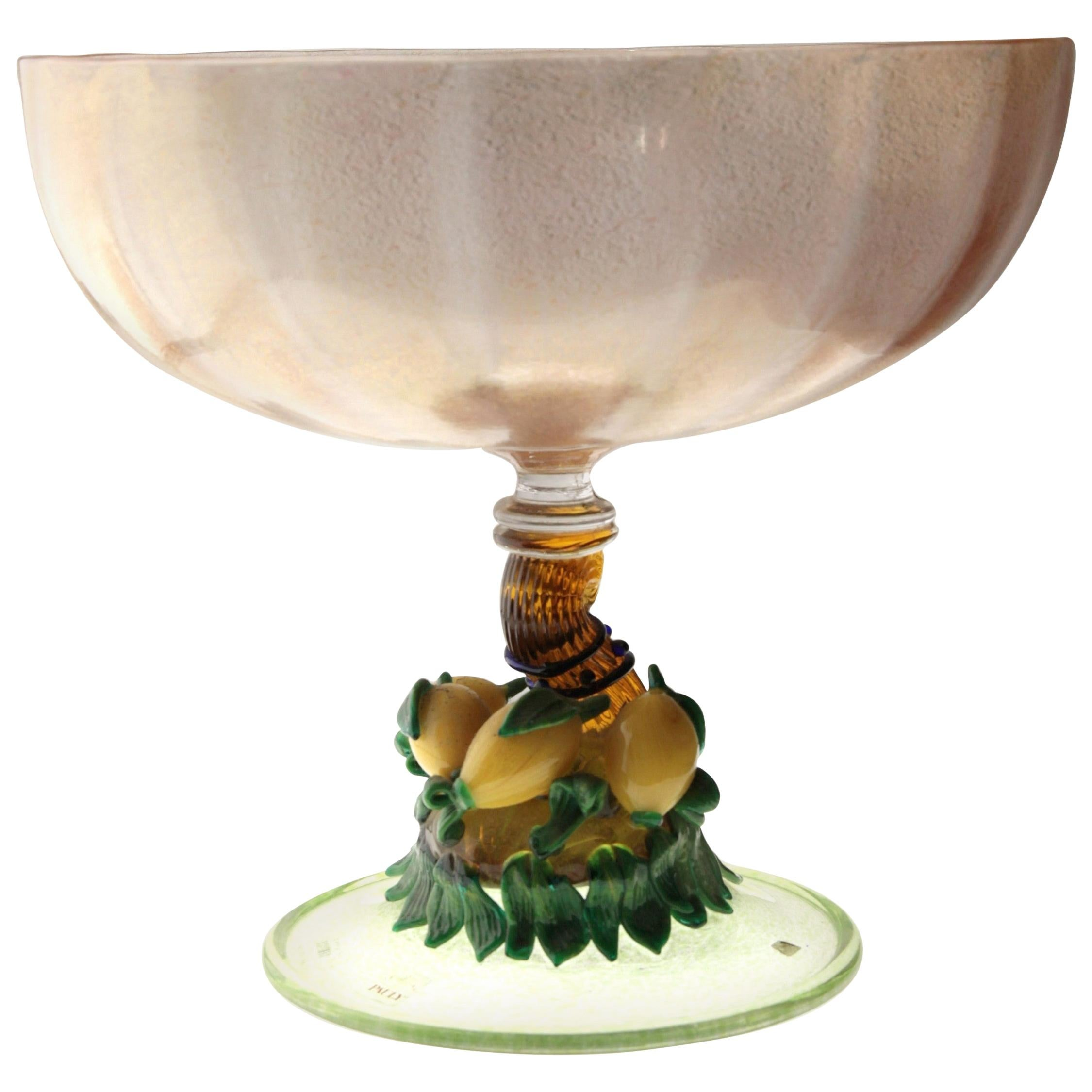 Pauly Venice Cornucopia Footed Bowl, Murano Glass, Gold Leaf Applications, 1960s