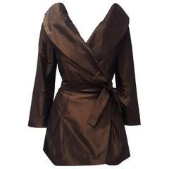 Pauw Amsterdam Brown Silk Portrait Collar Evening Jacket