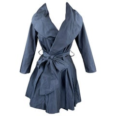 PAUW Size 0 Navy Polyester Shawl Collar Belted Coat