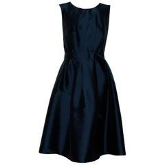 Pauw Sleeveless Navy Blue Gathered Waist  Dress