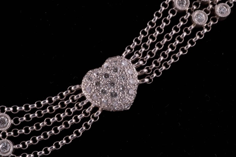 Contemporary Pavè Diamond Heart Necklace in White Gold For Sale