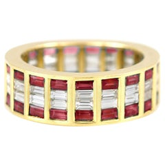 Pave 18 Karat Yellow Gold Wedding Band with Rubies and Diamonds