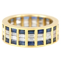 Pave 18 Karat Yellow Gold Wedding Band with Sapphires and Diamonds