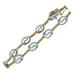 Pave Yellow and White Diamond Tennis-Bracelet 2.50 Carat 18 Karat