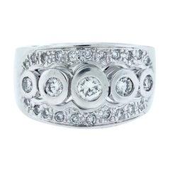 Pave, 5-Stone Bezel Diamond, Band Ring