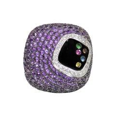 Pave Amethyst, Diamond and Multi-Gemstone Cocktail Ring 18 Karat White Gold