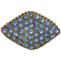 Pave Aquamarine Crystal Brasstone Pin Brooch, Antique Early 1900s