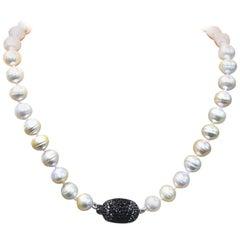 Stephen Dweck Pave Black Spinnal & Natural Golden Pearls Necklace