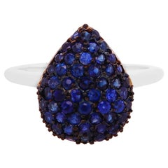 Pave Blue Sapphire Pear Shape Black Rhodium Ring