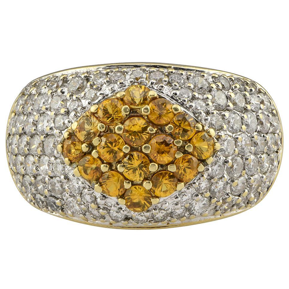 Pave Orange Sapphire and Diamond Dome Ring