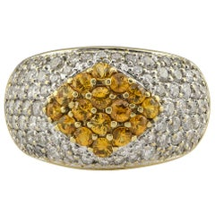 Pave Citrine and Diamond Dome Ring