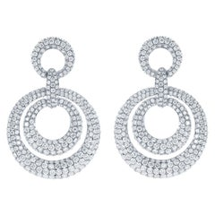 Pave Concentric Circles Drop Diamond Earrings, 8.73ct of Diamonds in 18kt Gold