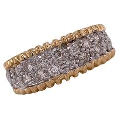 Pave Diamond 14 Karat Two Tone Gold Graduated Wedding Anniversary Band Ring