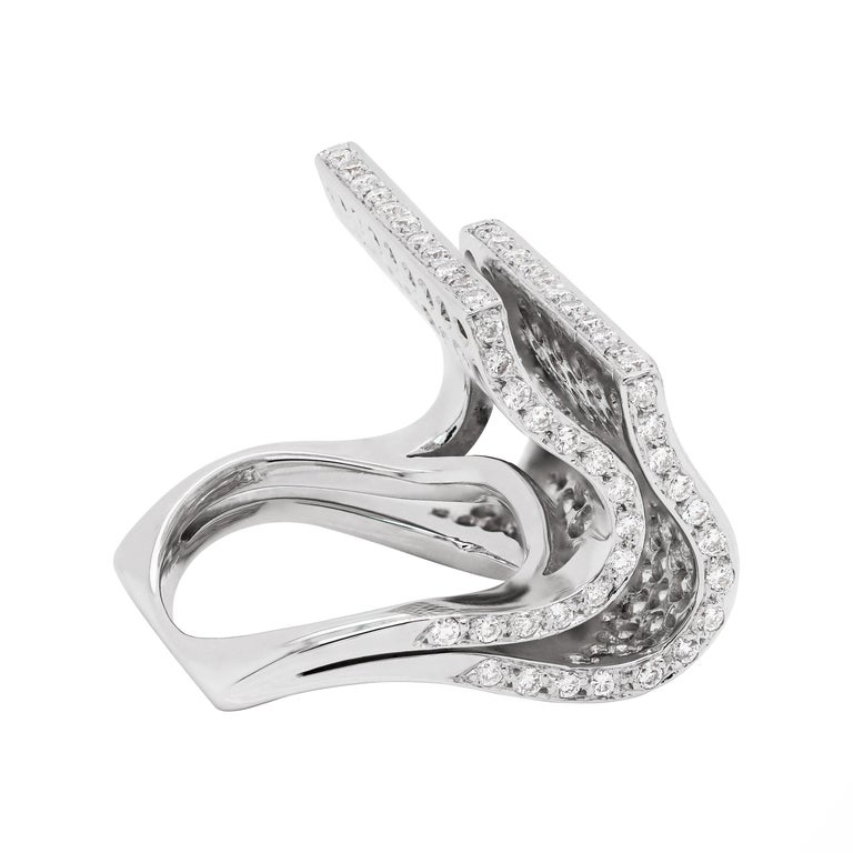 Modern Pavé Diamond 18 Carat White Gold Piano Cocktail Ring For Sale