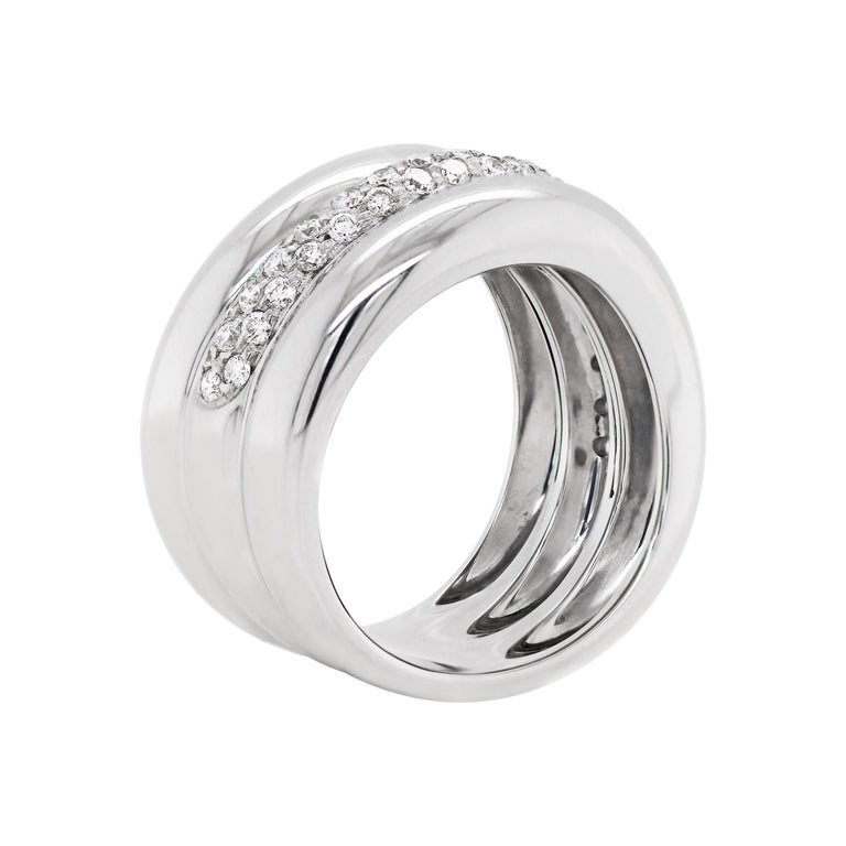 Modern Pavé Diamond 18 Carat White Gold Wide Band Ring For Sale