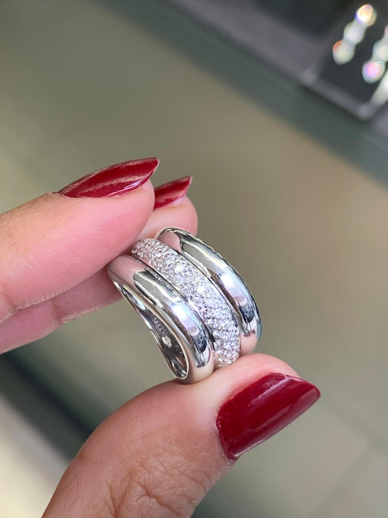 Brilliant Cut Pavé Diamond 18 Carat White Gold Wide Band Ring For Sale