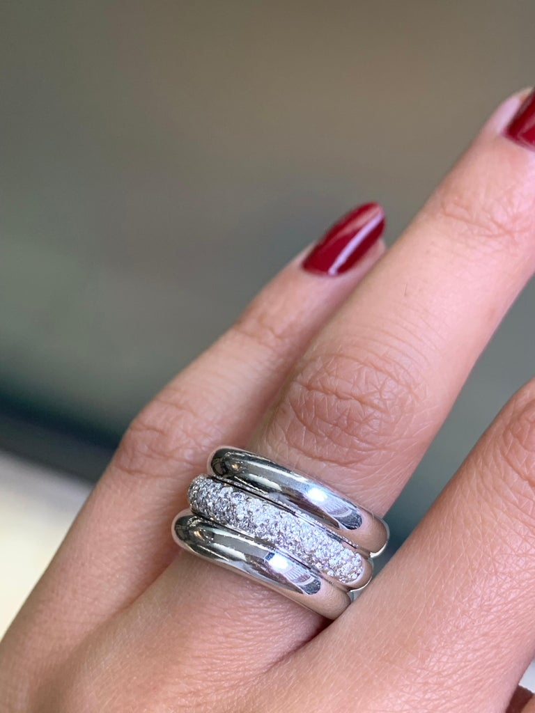 Pavé Diamond 18 Carat White Gold Wide Band Ring In Good Condition For Sale In London, GB