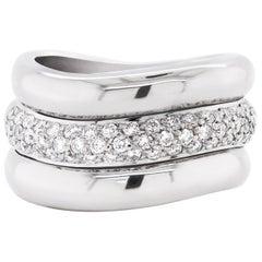 Pavé Diamond 18 Carat White Gold Wide Band Ring