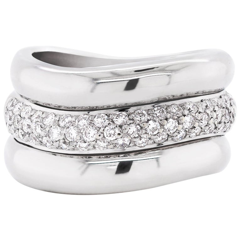Pavé Diamond 18 Carat White Gold Wide Band Ring For Sale