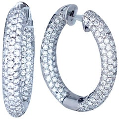 Pave Diamond 18 Karat Gold Hoops 4 Carat
