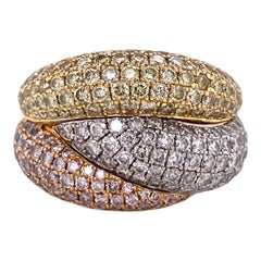 Pave Diamond 18 Karat Tricolor Gold Modern Band Ring White Yellow Rose Gold