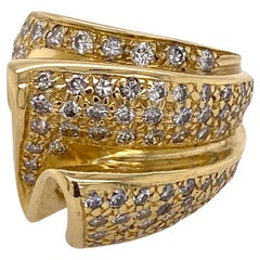 Pave Diamond 18 Karat Yellow Gold Ribbon Right Hand Ring Contemporary Vintage