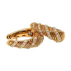 Pave Diamond 18K Rose Gold Tapered Hoop Earrings .70Ctw