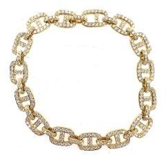 Pave Diamond Anchor Link 18 Karat Yellow Gold Bracelet