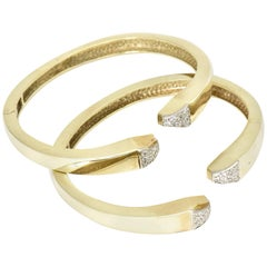 Pave Diamond and Gold Geometric Bangle Bracelets, Pair