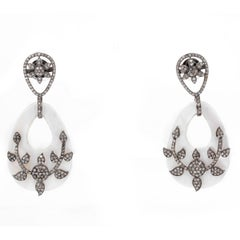 Pave Diamond and Mother of Pearl Dangling Earrings