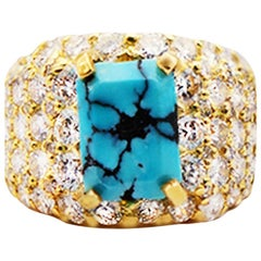 Pave Diamond and Turquoise Wide Band Ring 2.50 Carat of VS Quality in 18 Karat