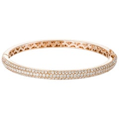 Pavé Diamond Bangle Bracelet in Rose Gold