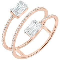Pave Diamond Bypass Ring in 14 Karat Rose Gold